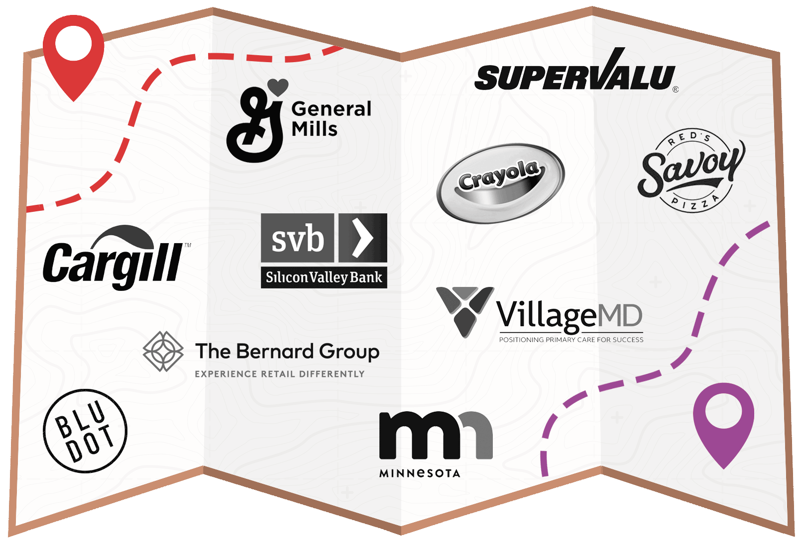 Map with Client Logos